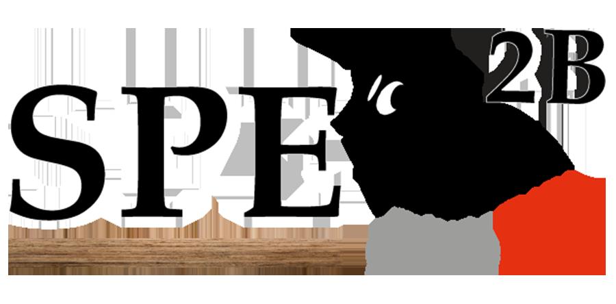 Logo de SPE2B comprenant les lettres et chiffre, et un termite