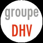 Logo du Groupe DHV composé de lettre grise et rouge