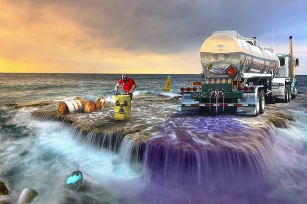 Déversement de produit toxiques dans la nature - pollution de l'eau