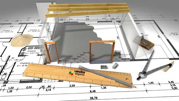 Vue schématique 3D de la mesure métrique de l'immobilier.