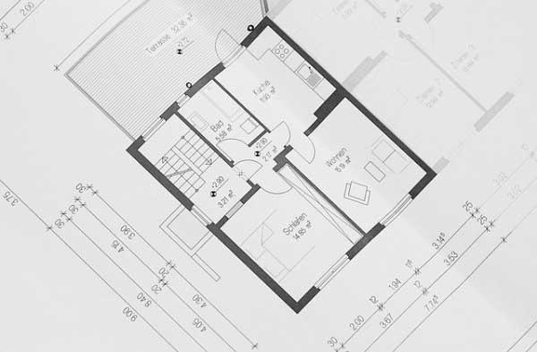 Représentation d'un plan plan 2D d'un appartement.