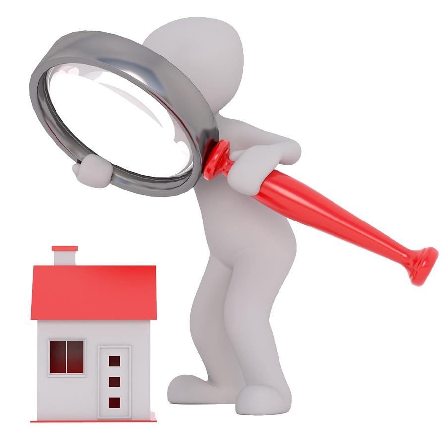 Silhouette homme blanc, regardant une maison miniature avec une loupe